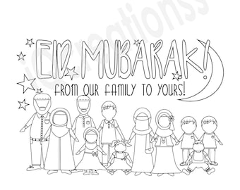 Personalized & Customized DIY Colour-me-in Eid Cards