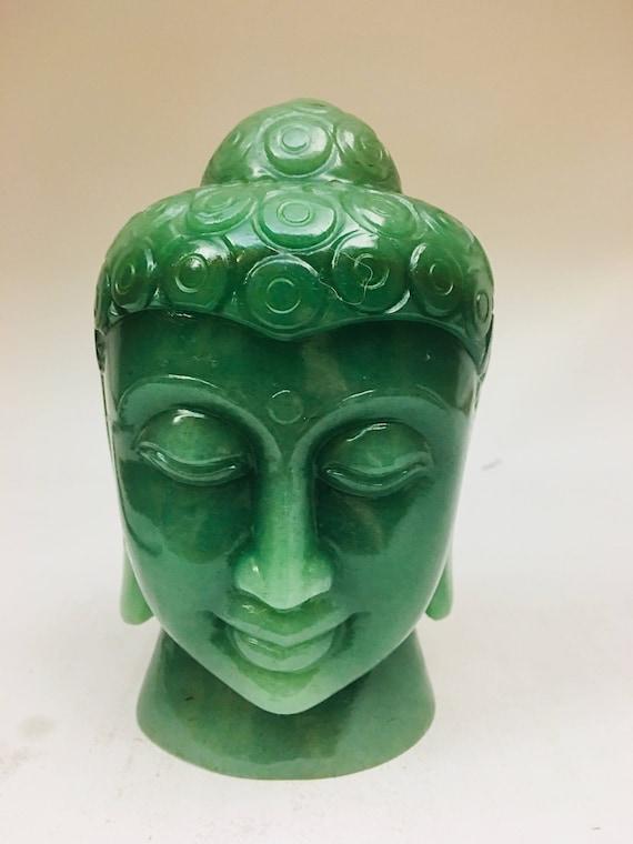 933.05 SMALL 2.7  Natural Tiger Eye Buddha Head Fine Hand Carved Semi Precious Buddhist Figurine,Gemstone Valentine Offer
