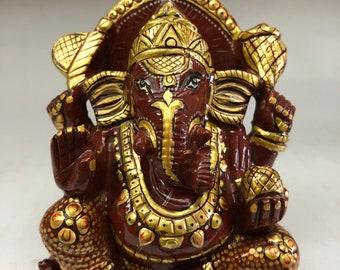 Red jasper gold painted Ganesha