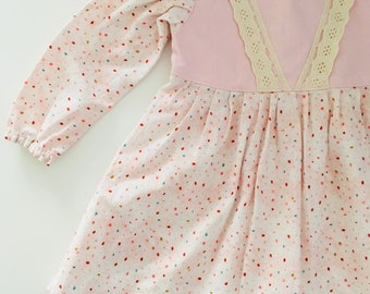 Baby girls pink long sleeve vintage style dress