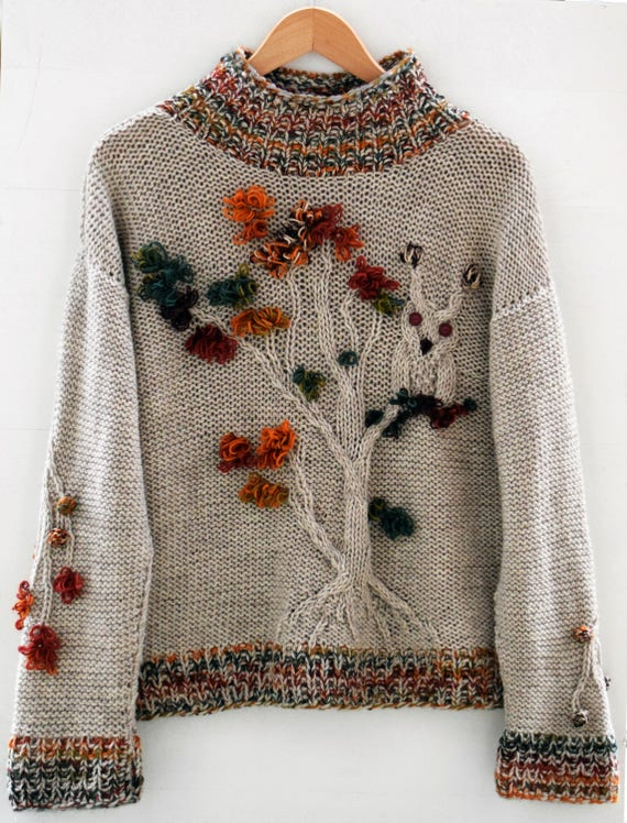 Light brown owl tree oversize sweater handmade Beige sand forest autumn jumper Pullover knitwear wool colorful casual original knitted