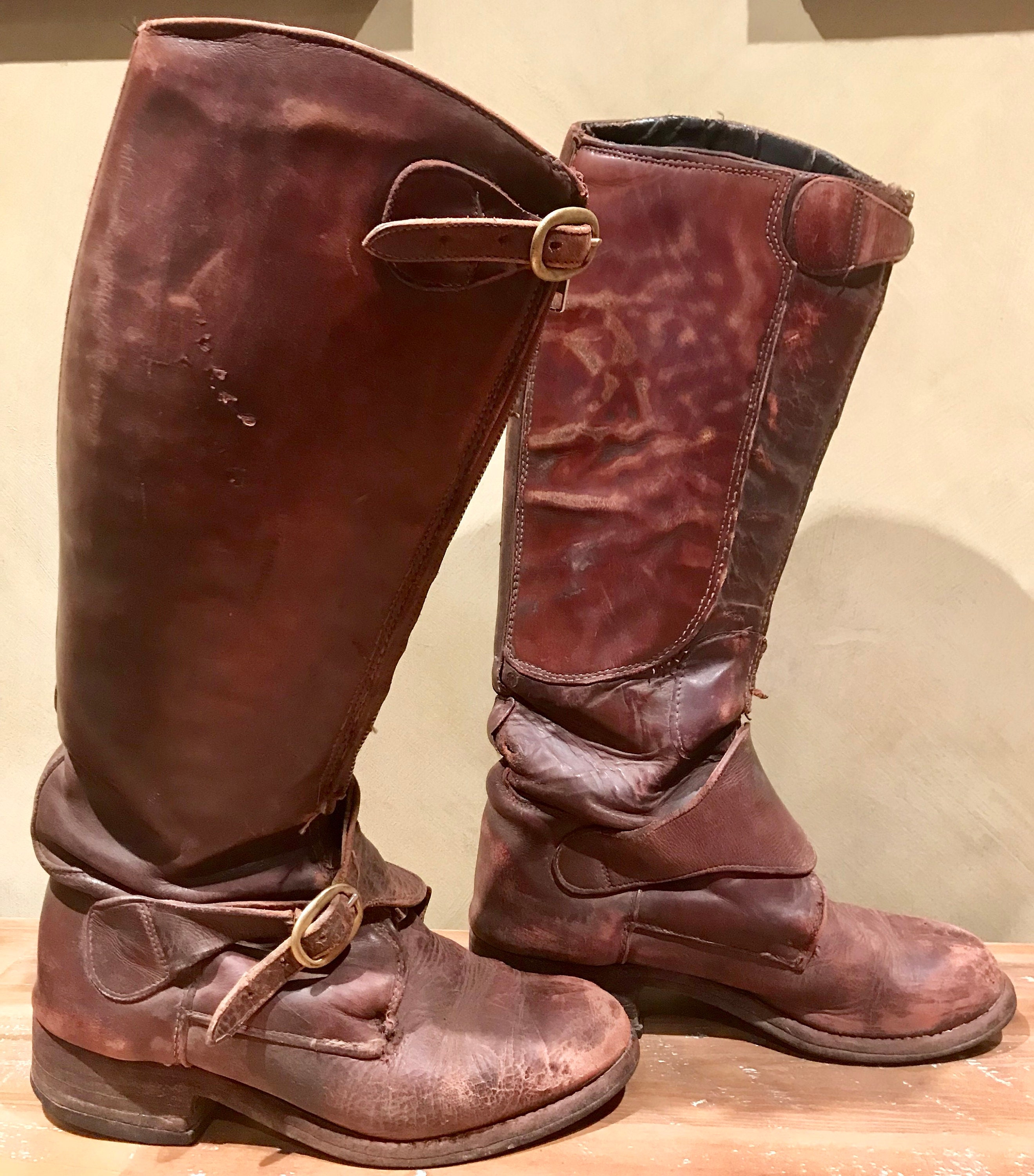 Australian Made Vintage Boho Riding Trashed Destroyed Distressed All Leather Riding Boho Boots 74c394