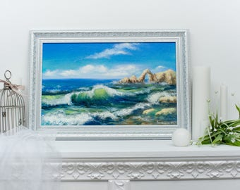 Sea wave Marina Oil painting With Ocean Image sea Breeze Wall decor Beautiful nature Panorama Harmony of nature paradise