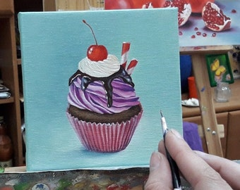 5x5 inch tart collage desserts kitchen decor mousse wall decor sweets macaroons cakes miniature oil paintings on canvas cupcakes