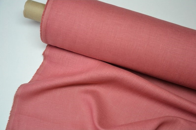 stonewashed softened Baltic quality fabric For clothes bedding curtains plain Pure 100/% linen fabric Pink color Medium thickness