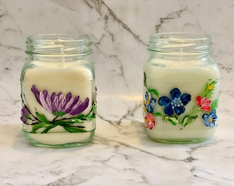 Square Hand Painted Handmade Soy Candle