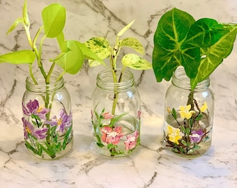 Small Floral Hand Painted Jars