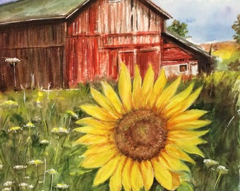 Red Barn Watercolor Painting Farm Original Painting Sunflower ART handmade