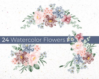 Watercolor Flowers PNG, Wedding Flowers, Watercolor Flower Clipart, Blue Flowers Bundle Illustrations, Instant Download, Digital File
