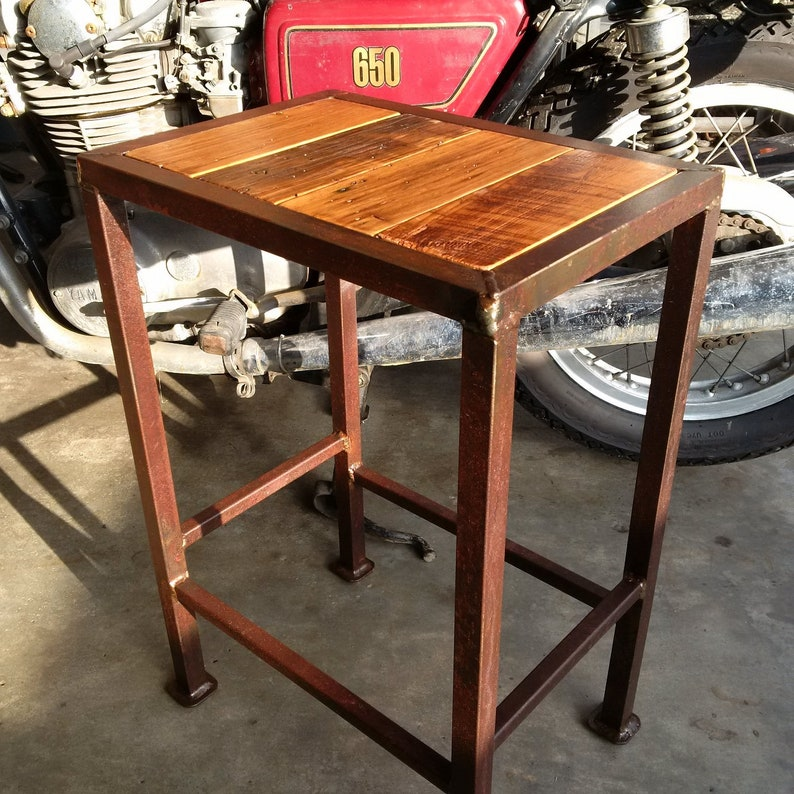rustic barnwood table wormy chestnut top with steel patina etsyimage 0