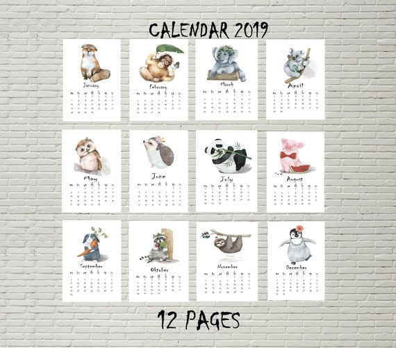 Animals Illustration Calendar 2019 Printable Calendar 2019 Etsy