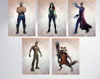 Guardians Of The Galaxy Print, SET of 5, Marvel, Gamora, Star Lord, Rocket Raccoon, Groot, Drax The Destroyer, Watercolor, Digital Print