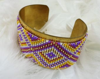 Wide cuff Aztec pattern