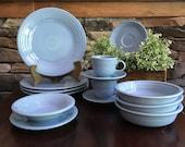Vintage Fiestaware Periwinkle Blue Dinnerware Pieces Homer Laughlin China Plates Teacups Bowls