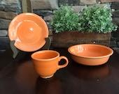 Vintage Fiestaware Tangerine Dinnerware Pieces Homer Laughlin China Plates Teacups Bowls
