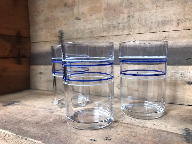 Juice Tumbler Blue White Retro 1933 Hazel Atlas 1 Band Kraft Swanky Swigs Jar