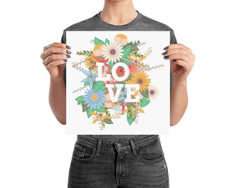 Tropical Flowers Love Poster