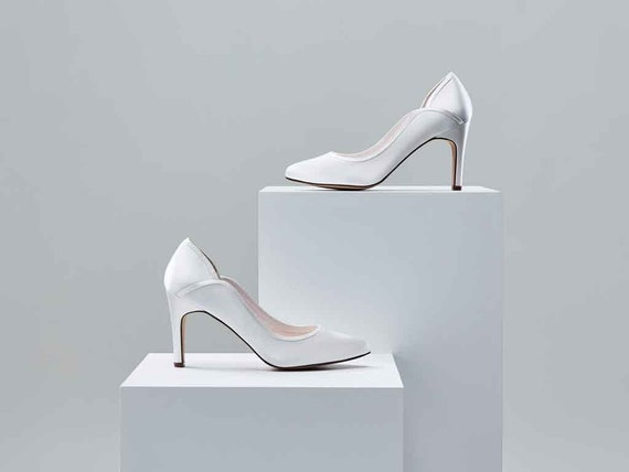Lucy Ivory Satin Court Shoes UK size 3.5 by Rainbo