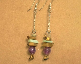 Amethyst earrings, Tiger eye
