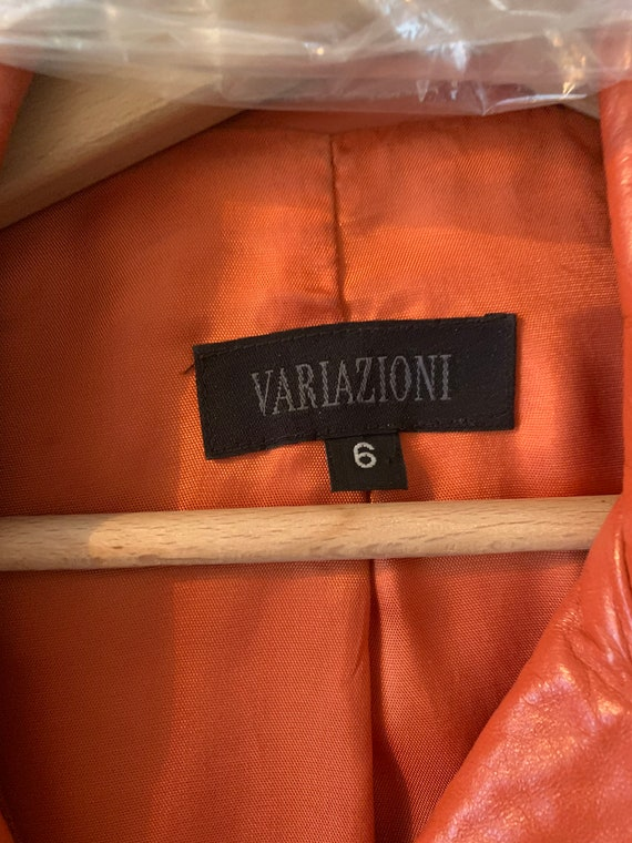 Orange Long Leather Jacket