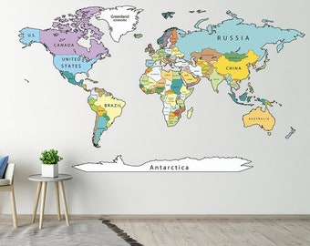 Map Of The World Decal.World Map Decal Etsy