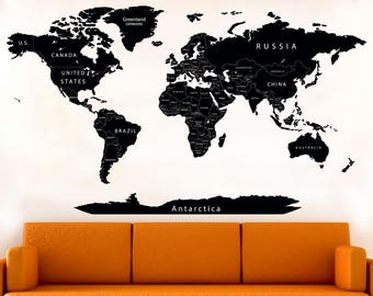 vinyl world map sticker printed black detailed political map decal prints map with countries push pin