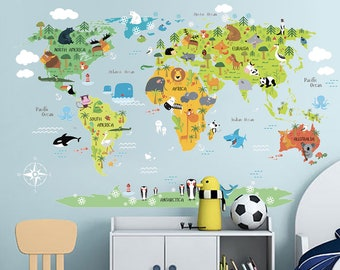 Kids World Map Decal Map With Animals Kids World Vinyl Sticker Decal For Kids  Map For Kids Kids Decal Kids Room Decal Animals On Map Decor