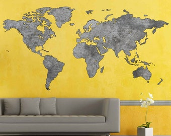 Large World Map Etsy - Big world map for wall