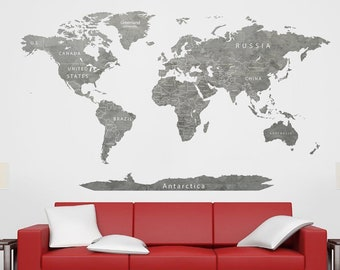 Grey world map etsy world map decal grey map decal greyscale map world map travel art worldmap sticker print map countries push pin map art map decal travel map gumiabroncs Image collections