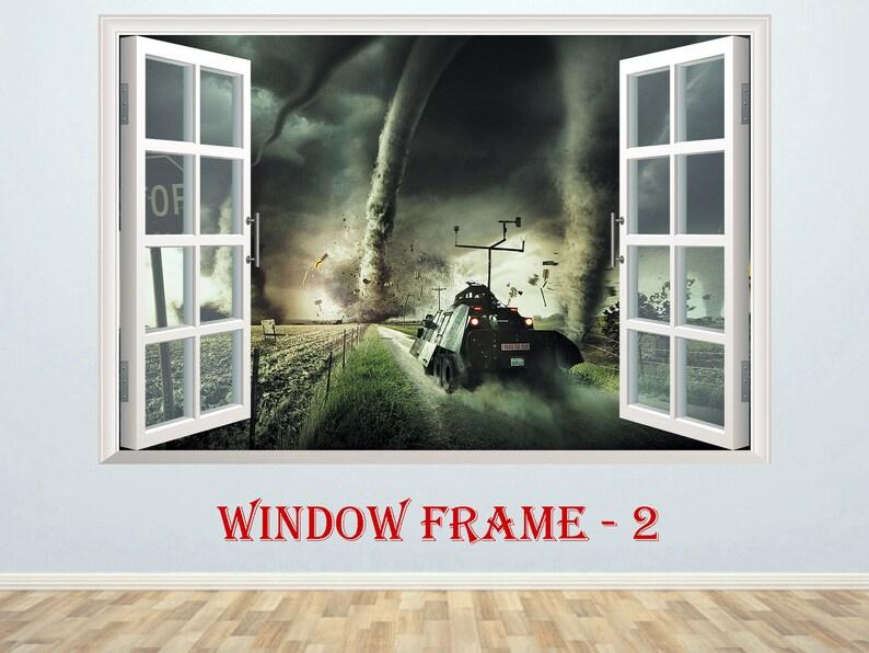 Pursuit of tornado 3D Window effect Window Poster Wall Sticker Window Print Nursery Decal Kids room Decor Art Mural Fantasy prints Tornado