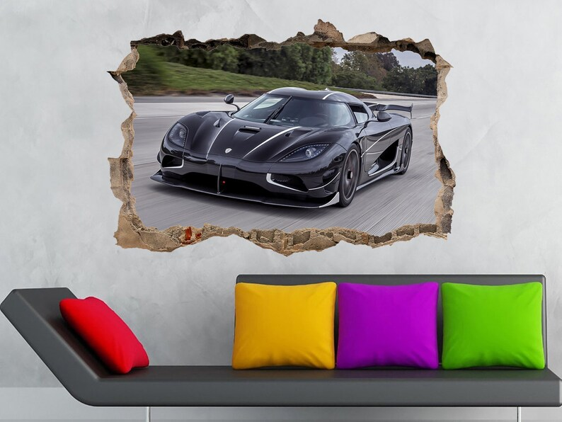 Koenigsegg Agera R 3D Wall crack Koenigsegg Prints Cars Poster Koenigsegg sticker Sport Car Super car Decal Garage decor Nursery Kids decor