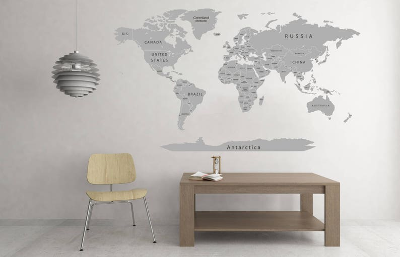 Vinyl Printed \u0421olorful titles Gray World map Poster Detailed Map Decal Print Map with countries Push pin World map decal Map of world decor