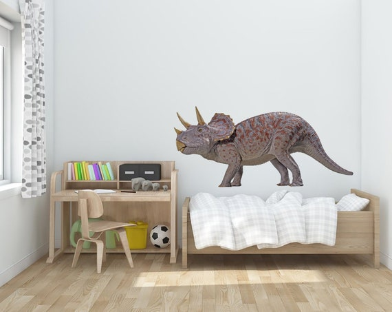 Triceratops Dinosaur Wall Sticker Decal Transfer Kids Bedroom Boys Matt Vinyl UK