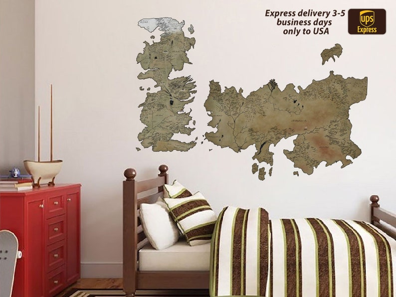 Game Of Thrones Map Decal Got Map Game Thrones Sticker World Etsy