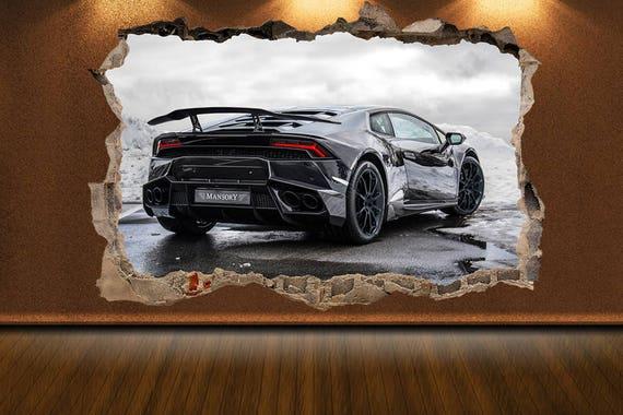 Wall Crack Decal Lamborghini Decal Lamborghini Print Muscle Etsy