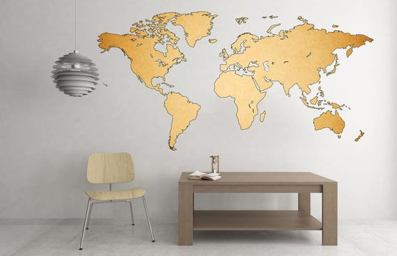 Map Of The World Decal.Retro Stylish Vintage Art World Map Decal Map Of The World Etsy
