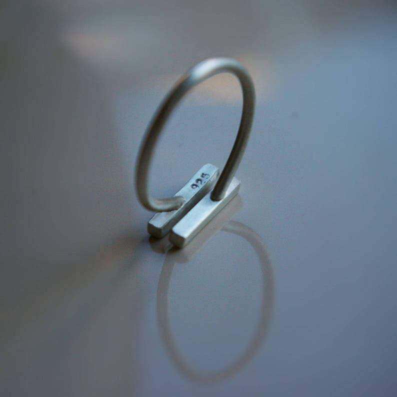 Sterling Silver Bar Ring Minimalist Silver ring Double Bar Open Ring Simple Minimalist Rings Unique Stacking
