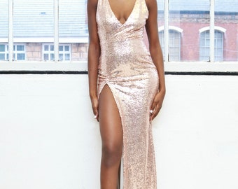 High slit sequin evening prom gown