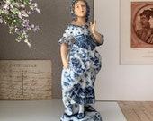 Antique late 19th c. Volkstedt Hand Painting porcelain Female figurine, Germany antique porcelain, lady figurine, blue porcelain.