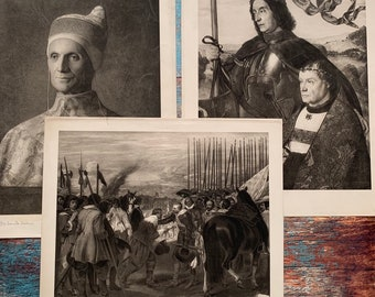 Portrait of Giovanni Bellini Antique wall decor Antique set of 3 LARGE military lithographs Chromolithographic Historical figures.