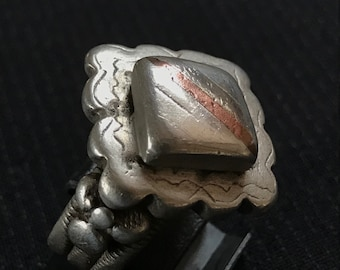 Old Fulani, Peul ring, silver with copper inlay, size 9 (american) or 20 (french), Mali