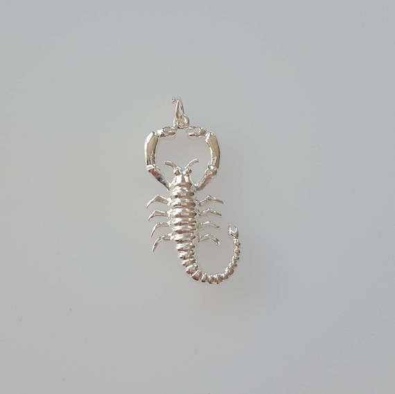 .925 Sterling Silver Antiqued Scorpion Charm Pendant