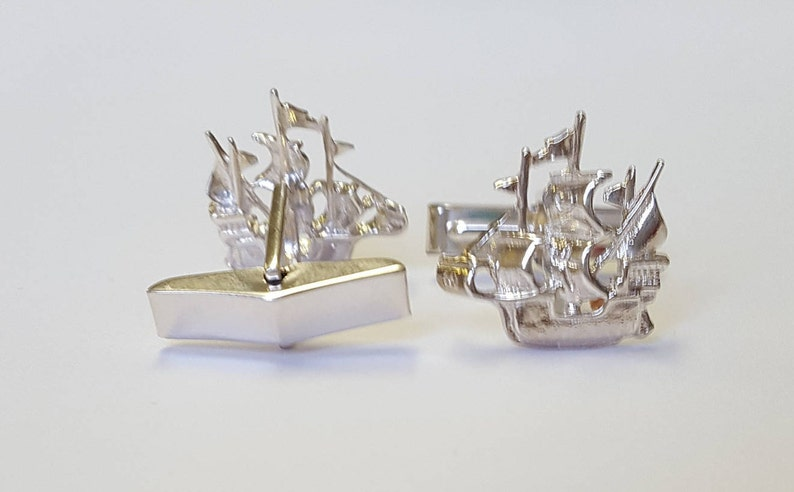 Personalised GiftSterling Silver  Galleon Cufflinks personalise with initials /& a date on the swivel for FREE