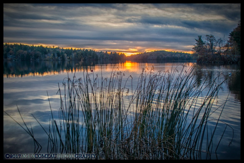 Sunset over Reeds  Water River Lakes Art New Hampshire image 0