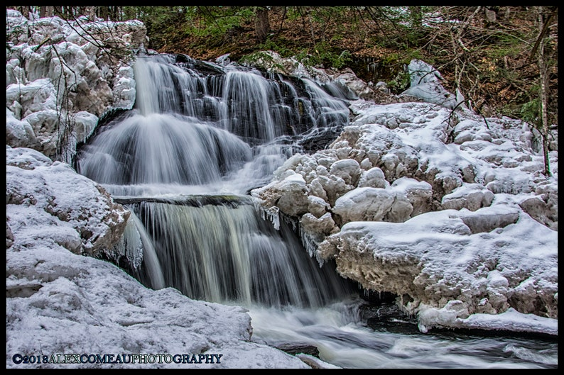 Garwin on Ice  Ice Waterfall Water River Lake Art New image 0
