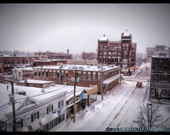 Snowy Downtown - City, Cityscape, Snow, Downtown, Art, New Hampshire, Photography, Photograph, Photo, Canvas, Frame, Picture, New England