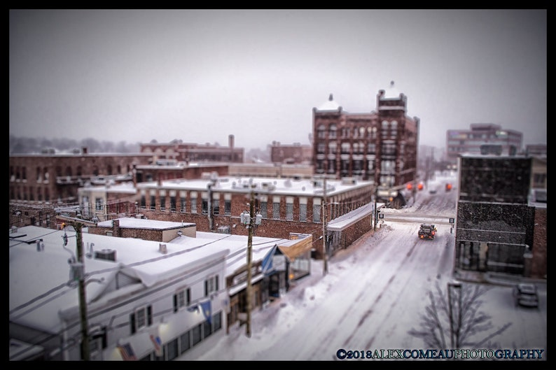 Snowy Downtown  City Cityscape Snow Downtown Art New image 0