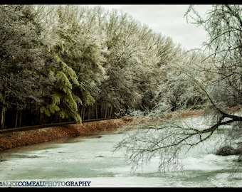 Frozen River - Ice, Winter, Snow, Forest, Woods, Art, New Hampshire, Photography, Photograph, Photo, Canvas, Frame, Picture, New England
