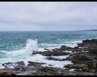 Crashing Waves - Ocean, Sea, Beach, Shore, Coast, Art, New Hampshire, Photography, Photograph, Photo, Canvas, Frame, Picture, New England