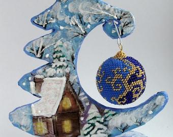 Crochet bead blue Xmas baubles Handmade xmas ball tree decor toys Christmas ornaments  blue decor holiday New year gifts Xmas tree balls
